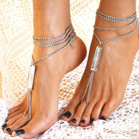 "Women Barefoot Sandals "" Luminous Crystal ii "", foot jewellery, soleless sandals, ankle jewellery, beach jewellery"