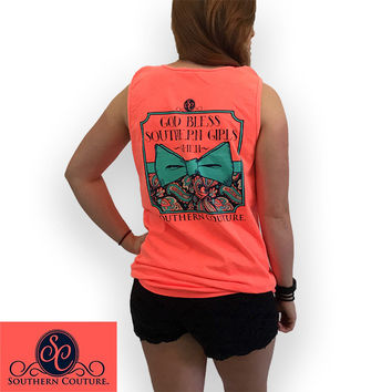 Southern Couture God Bless Southern Girls Amen Bow Comfort Colors Tank Top