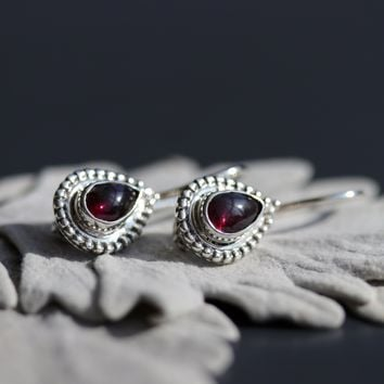 Shop Dixi Boho Earrings | Embers Garnet Boho Sterling Silver Earrings
