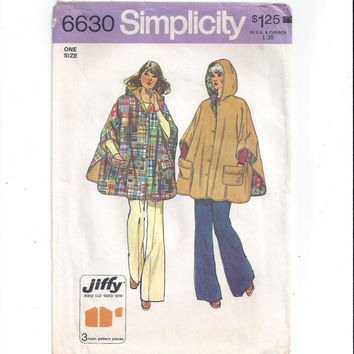Simplicity 6630 Pattern for Misses Jiffy Reversible Hooded Poncho or Cape, From 1974, Vintage Pattern, Home Sewing, Simple to Sew, 4 Pieces