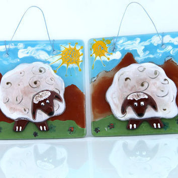 fused glass painting art , sheeps  by Virtulyglass. (set of 2)