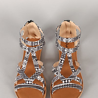 Qupid Athena-673A Tribal Strappy Open Toe Flat Sandal