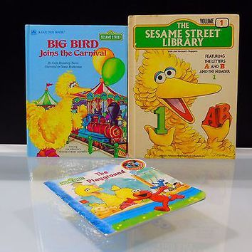 3 Books Lot Sesame Street Library Vol 1 Big Bird Joins Carnival The Playground