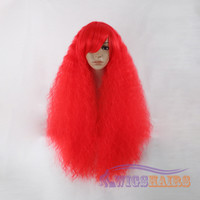 """22"""" Long Curly with Bangs Synthetic Wigs for Women Basic Cap Red"""