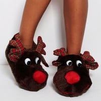 Sleighbells Brown & Tartan Rudolph Slippers | Pink Boutique