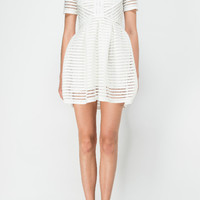 WHITE STRIPES TEXTURED DRESS