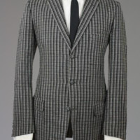 Vintage 60s Kingsridge Gray/Black Wool Tweed Blazer/Jacket 42 L Monkey Suit