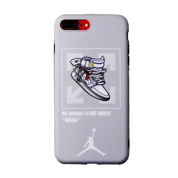 AIR JORDAN 1 x OFF-WHITE Joint Tide brand iPhone7 mobile phone case cover grey