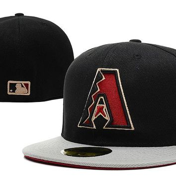 LMFON Arizona Diamondbacks New Era 59FIFTY MLB Hat Black-Red