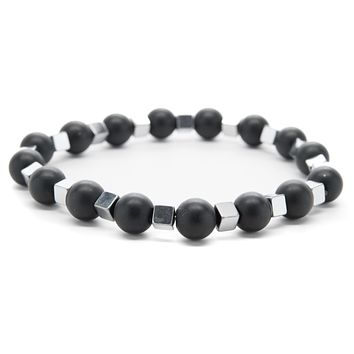 Black Onyx and Silver Hematite Gemstones Beaded Bracelet for Men and Women