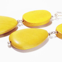 Yellow Wood Drop Earrings, Oval andTeardrop Wood Beads with Silver lever back Hooks