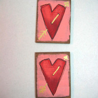 Two Valentines Day Heart Magnets, Tole Painted, Primitive, Whimsical