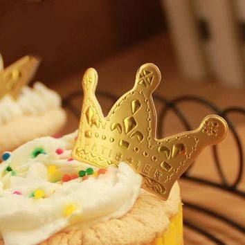 100 Pcs/2 Packs Gold Princess Crown Cake Topper Favors Party Cupcake Picks Baby Shower Wedding Birthday Decorations Accessories