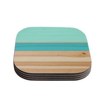 "KESS Original ""Spring Swatch - Blue Green"" Teal Wood Coasters (Set of 4)"