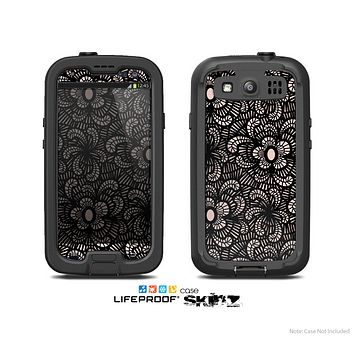 The Black Floral Lace Skin For The Samsung Galaxy S3 LifeProof Case