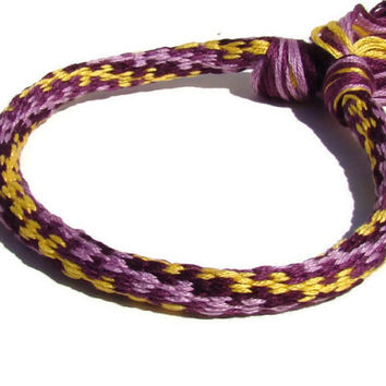 Cherish Collection-- purple and yellow swirl friendship kumihimo bracelet with or without purchased magnetic clasp-- your choice