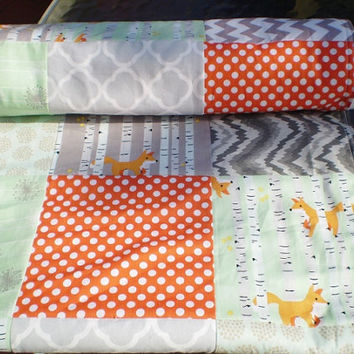 Fox Baby quilt,Grey,mint green,orange,Patchwork crib quilt blanket,baby boy bedding,baby girl quilt,good natured,woodland,rustic,chevron,fox