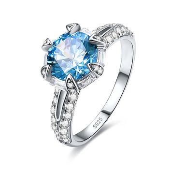 Merthus Unique 3ct Blue Topaz Solitaire Engagement Ring 925 Sterling Silver