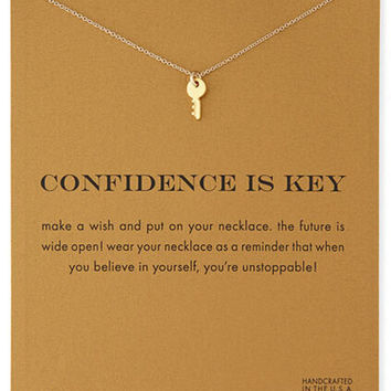 Sparkling Key gold color plated Pendant necklace Key Fashion Clavicle Chains Statement Necklace For Women Jewelry(Has card)