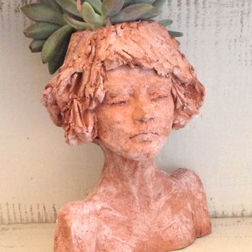 Head planter - Woman bust  - figurine - Head sculpture - small terracotta pot - Outdoor statue