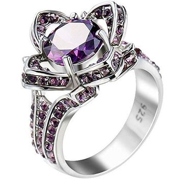 XAHH Women 925 Sterling Silver Plated Bridal Engagement Wedding Band Purple Amethyst CZ Lotus Flower Ring