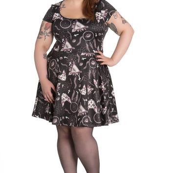 Gothic Dark Side Witchy Magic Skater Dress - plus size