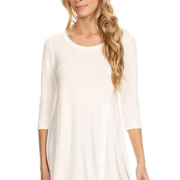 Womens White Tunic Top Long Asymmetric Side Button Shirt: S/M/L/1XL