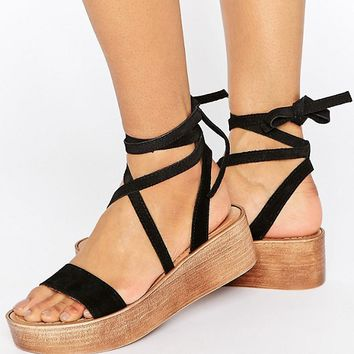 ASOS TRUTHFUL Suede Tie Leg Wedges at asos.com
