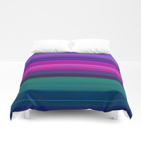 Vibrant Purple Pink and Green Stripes Duvet Cover by Sheila Wenzel