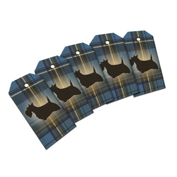 Scottie Dog on Blue Plaid Scottish Terrier Wood Gift Tag Set