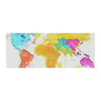 "Oriana Cordero ""World Map"" Rainbow White Bed Runner"