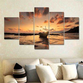 Wall Art Picture Canvas Seascape Painting 5 Panel Home Decor for Living Room