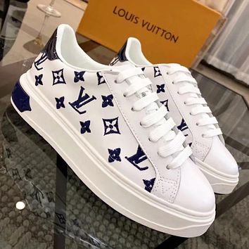 LV Louis Vuitton Trending Woman Comfortable Leather Shoes Flats Sneakers White/Blue