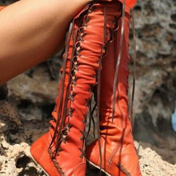 Flat Tassel Over Knee High Boots Pull On Punk Style Round Toe Smooth Leather Cowboy Boots