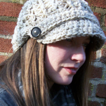 Newsboy Slouch Hat Chunky Beanie Cap Ladies Brimmed Tam Beige