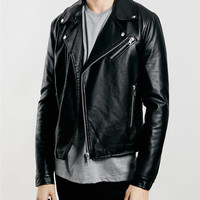 Black Faux Leather Biker Jacket - Leather & Faux Leather Jackets - Men's Jackets & Coats - Clothing
