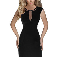 Black Sleeveless Cut-Out Mesh Bodycon Mini Dress