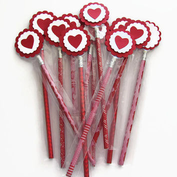 Valentine Pencils, Classroom, School Exchange, Valentine Favors,