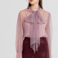 Vivi Dot Bow Mesh Blouse Discover the latest fashion trends online at storets.com