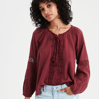 AE Lace Inset Button-Up Blouse, Red