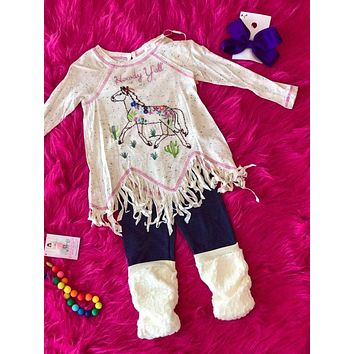 Baby Sara 2017 Fall L/S Raglan Tunic W/Howdy Yall Horse Embroidery And Fringe Hem