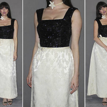 Vintage 50s 60s Black SEQUIN and Ivory DAMASK Maxi Dress / Sleeveless Evening Gown, Black Tie, Formal, Wedding, Prom / Square Bust / Small
