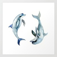 Two Dolphins Art Print by SurenArt