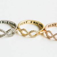 BEST FRIENDS Infinity Ring detailed with CZ,crystal infinity best friend rings,eternity ring,graduation ring,infinite,bridesmaid gift,SKD203