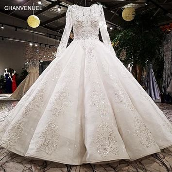 LS62312 2018 Luxury wedding dress o-neck  ball gown zipper  ivory and champagne bridal wedding gowns with long train as photos