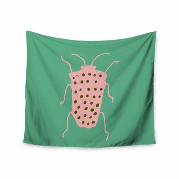 "bruxamagica ""Bug Aqua"" Green Pink Animals Nature Illustration Mixed Media Wall Tapestry"