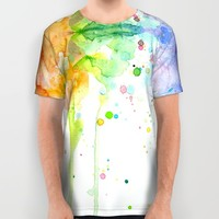 Rainbow Watercolor All Over Print Shirt by Olechka