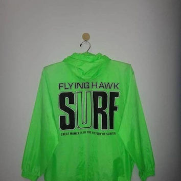 Chrismas Xmas Sale Vintage Flying Hawk Surf Great Moments in The History Of Surfers Jacket Zip Up windbreaker Beach