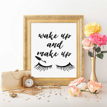 "MAKEUP Print ""WAKE up and MAKEUP"" Fashion Print Motivational Print Wall Decor Inspirational Print Motivational Quote Watercolor Poster"