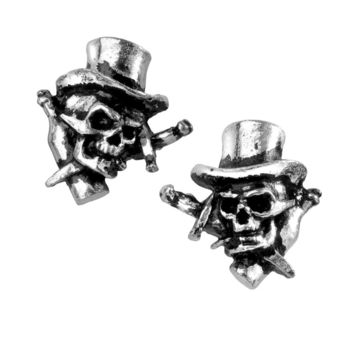 Alchemy Gothic Live Now Skull w/ Top Hat Stud Earrings